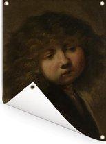 Het Jongenskopje - Schilderij van Rembrandt van Rijn Tuinposter 30x40 cm - klein - Tuindoek / Buitencanvas / Schilderijen voor buiten (tuin decoratie)