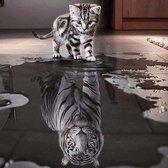 Diamond Painting - Kat en tijger - 30 x 30 cm - Maak de mooiste schilderijen helemaal zelf
