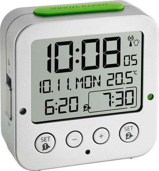 TFA Dostmann 60.2528.54 Wekker Zendergestuurd Zilver Alarmtijden: 2