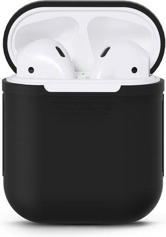 Afbeelding van Airpods Silicone- Case -Cover- Hoesje geschikt speciaal voor Apple Airpods 1 / 2 - Zwart