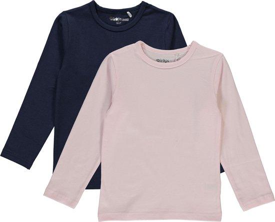 Dirkje Meisjes Shirts Lange Mouwen (2stuks) Lichtroze en Blauw - Maat 116