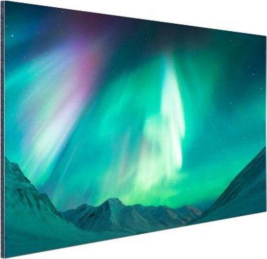 Prachtig noorderlicht boven de bergen Aluminium 90x60 cm - Foto print op Aluminium (metaal wanddecoratie)