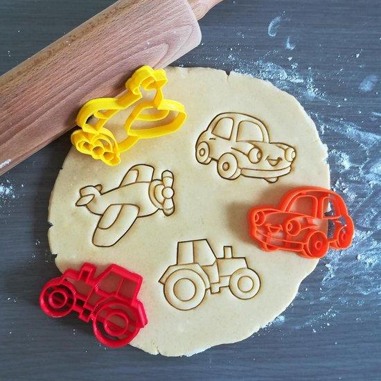 Koekjesvorm | 3-delige set | Auto - Tractor - Vliegtuig | Cookie cutter | Uitsteekvorm | Bakvorm | 8cm