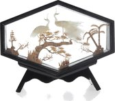 Kurk schilderij met vogels bruin - botanisch schilderij - 3D schilderij 17 cm