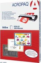 ACROPAQ lamineerhoezen A3 - Transparant - 100 micron - 50 stuks