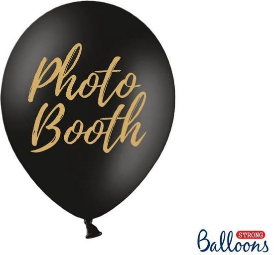 Ballonnen zwart Photo Booth goud 50 stuks