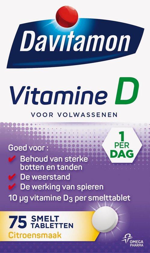 Davitamon Vitamine D Volwassenen smelttabletten - 75 stuks - Voedingssupplement