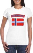 T-shirt met Noorse vlag wit dames S