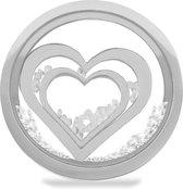 LOCKits 982501859 - Stalen glas munt - harten en kristallen - 20-2 mm - zilverkleurig