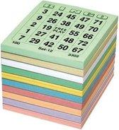 Bingo kaarten gekleurd - Bingo block - 5x100 vellen - 0 tot 75 - 5 verschillende series