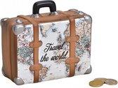 Spaarpot koffer spaar voor vakanties over de hele wereld