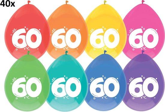 40 x ballonnen - 60 jaar - multi/wit
