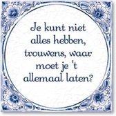 Delfts Blauwe Spreukentegel - Je kunt niet alles hebben, trouwens waar ...