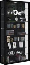 Vitrinekast wandvitrine Vitrosa Maxi zwart met LED verlichting