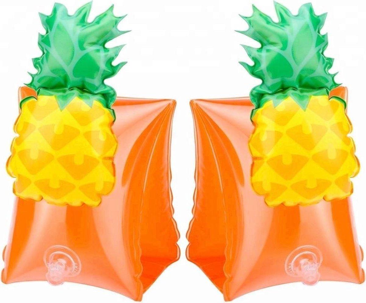 Ananas zwembandjes - opblaasbaar - zwemband - zwemvleugels - zwemgordel - veilig - zwemmen - evooni - kinderen - 3-6 jaar - 15 tot 30kg - kers - aardbei - ananas - toekan - haai - unicorn - eenhoorn - krab