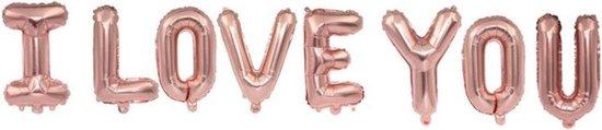 Folie Ballon met Tekst I LOVE YOU | Roségoud | Bruiloft Accessoires