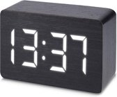 JAP Clocks AP142 digitale wekker - Houten alarmklok - Datum en tijd - Zwart