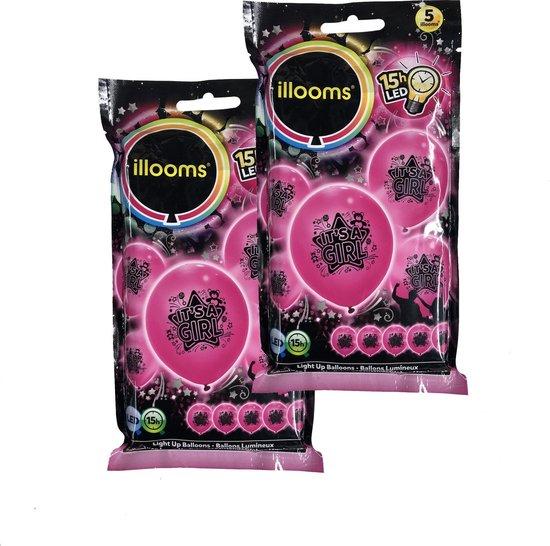 Illooms Roze It's a Girl Ballonnen met LED Verlichting voor Geboorte van Dochter – 10 Stuks – 23x23x23 cm   Decoratie voor Geboorte Feest   Versiering   Ballon   Babyshower