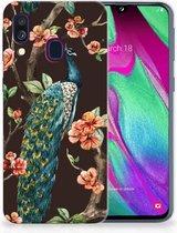 Samsung A40 TPU Silicone Hoesje Design Pauw met Bloemen