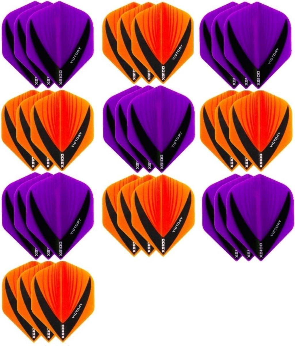 10 sets (30 stuks) - XS100 Vista flights - duo kleur pakket - Oranje en Paars - flights - dartflights
