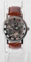WINNER unisex horloge kast: Zilver band: bruin 39mm