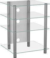 TV meubel kast Hifi meubel Bilus - Zilver / helder glas