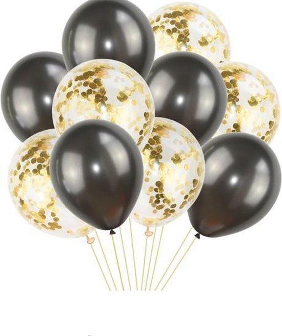 Confetti Ballonnen Transparant & Ballon Zwart | Goud Confetti | Effen - Transparant - Zwart | 10  stuks | Baby Shower - Kraamfeest - Verjaardag - Geboorte - Fotoshoot - Wedding - Marriage - Birthday - Party - Feest - Huwelijk - Jubileum - Event