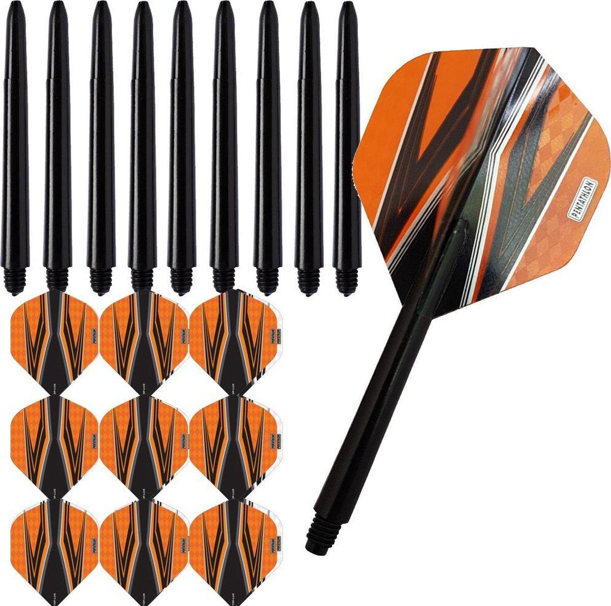 ABC Darts Flights Pentathlon - Dart flights en Medium Dart Shafts - Spitfire zwart oranje - 3 sets