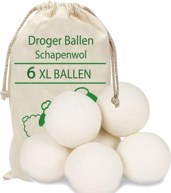 Droger Ballen Wol - Wasdroger Herbruikbare Wollen Droger Ballen - Droogballen Voor Snellere Droogtijd- Set 6 Stuks - Swilix