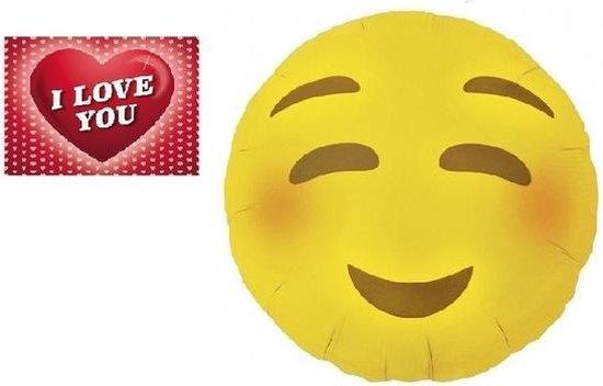 Folie helium ballon blozende smiley 46 cm met valentijnskaart - Valentijnsdag cadeaus