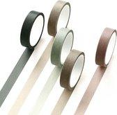 Set van 5 rollen Japanse Washi Tape Pine | Masking Tape Decoratie