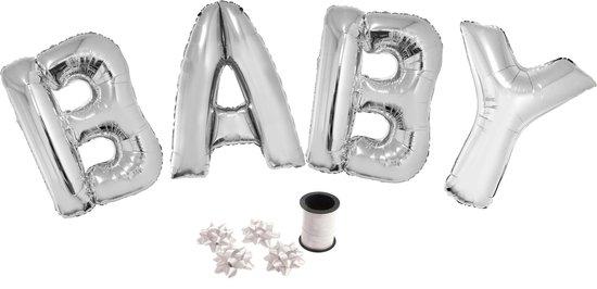 Folie ballonset zilver met letters BABY 102 cm + geschenklint 10m met 4 witte strikken