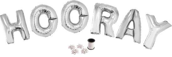 Folie ballonset zilver met letters HOORAY 102 cm + geschenklint 10m met 4 witte strikken