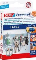 Tesa powerstrips - Zelfklevende strip - Dubbelzijdig - Large - 10 stuks - Transparant