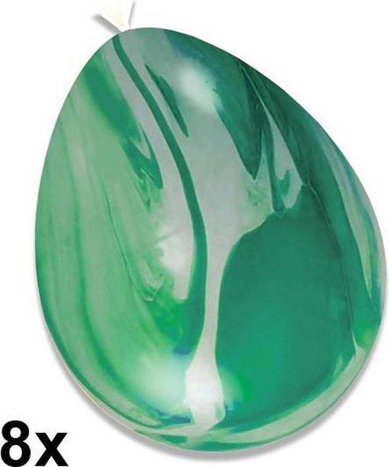 Marble ballonnen (gemarmerd) Groen, 8 stuks, 30 cm