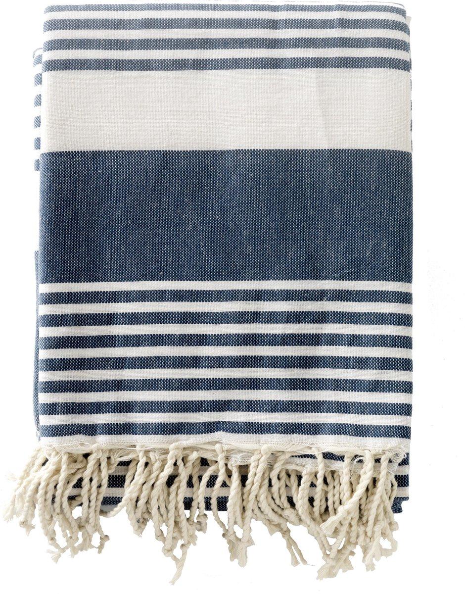 Strandkleed / Hamamdoek XXL - donkerblauw met witte strepen
