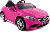 Black serie Mercedes Benz S63 AMG kinderauto roze 2.4G RC bediening soft start 12 volt rubberen banden 1 persoons