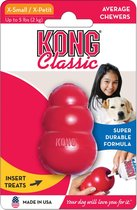 Zeer sterk Hondenspeelgoed - Te vullen met snacks - Kong Classic - Rood in XS tot XL - Geschikt voor alle honden - KONG CLASSIC ROOD XS