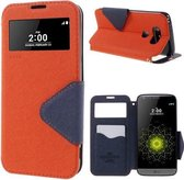 LG G5 Hoesje Oranje met Venster en Opbergvakje, H850