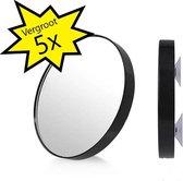 Kosmetische Vergroot Spiegel 5x Vergroot met 2 Zuignappen voor het Ophangen in Badkamer – 9cm | Badkamerspiegel | Draagbare Spiegel