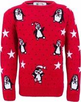 Rode meisjes kersttrui met pinguins  - foute kersttruien 7/8 jaar (128)