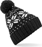 Winter muts Snowstar zwart voor dames of heren