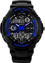 West Watch – multifunctioneel kinder sport horloge -  model Storm – Chronograaf – Shockproof - Digitaal/Analoog - Blauw