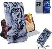 Let op type!! Tiger patroon gekleurde tekening horizontale Flip lederen case voor Huawei Y7 Prime (2019)/Y7 Pro (2019)/genieten van 9  met houder & card slots & portemonnee