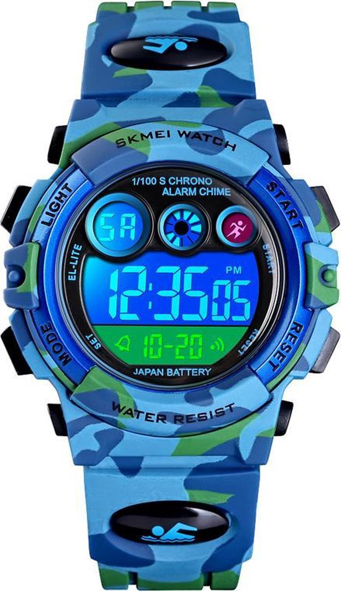 Kinderhorloge – Chronograaf – Waterdicht – Sports Watch Kids – Camouflage Blue