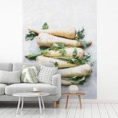 Fotobehang vinyl - Lichte pastinaken met peterselie tegen grijze ondergrond breedte 250 cm x hoogte 340 cm - Foto print op behang (in 7 formaten beschikbaar)
