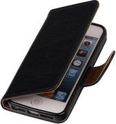MP Case Zwart vintage lederlook bookcase voor de Apple iPhone 5 5S SE wallet hoesje flip cover Apple iPhone 5 5S SE telefoonhoesje - smartphone hoesje - beschermhoes