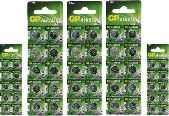 50 Stuks (5 Blisters a 10st) - GP LR44/76A/V13GA/A76 1.5v Alkaline knoopcel batterij