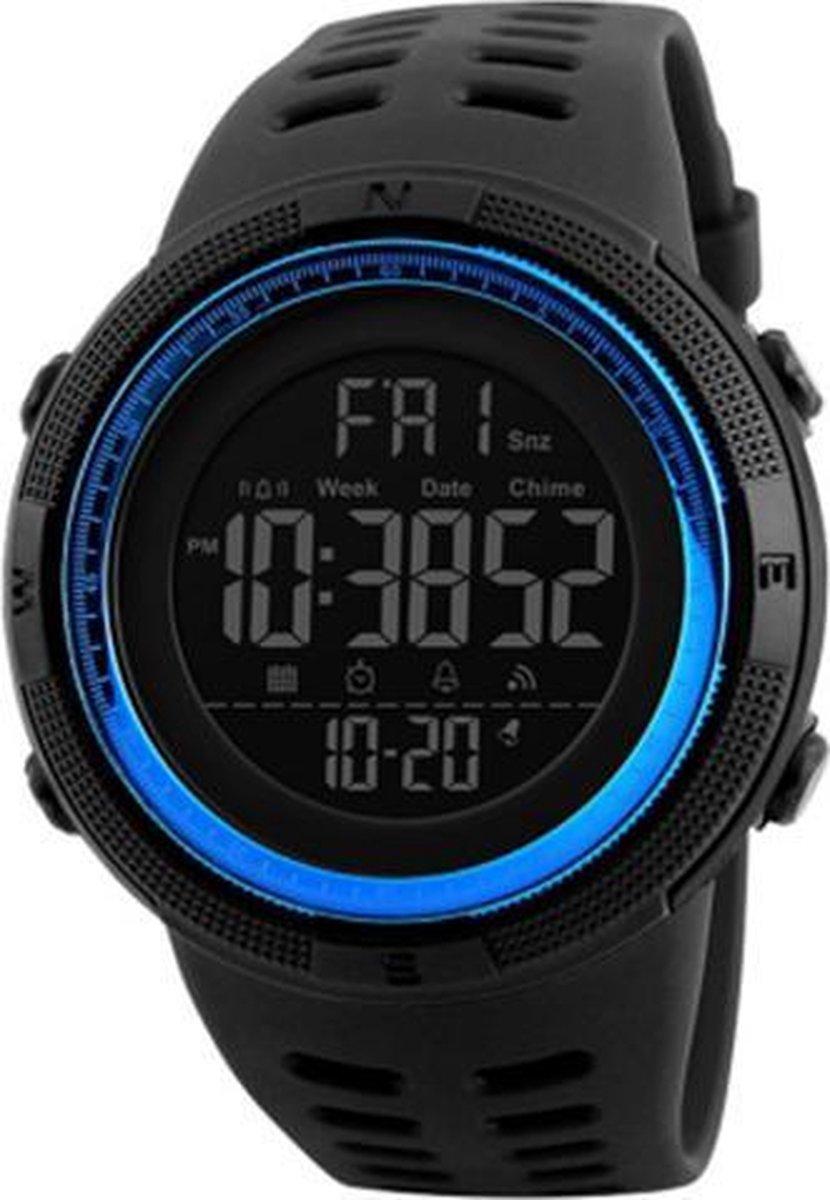 Skmei - Waterdicht 5 ATM Digitaal Sporthorloge - Dual Time - 49 mm - Blauw  Zwart