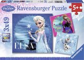Ravensburger Disney Frozen Elsa, Anna & Olaf- Drie puzzels van 49 stukjes - kinderpuzzel